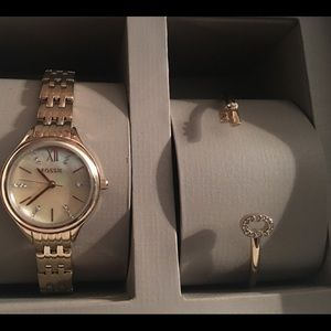 Women's Gold-Toned Fossil Watch and Bracelet Set